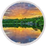 Heavenly Reflections In The Hill Country Round Beach Towel