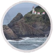 Heceta Head Light Round Beach Towel