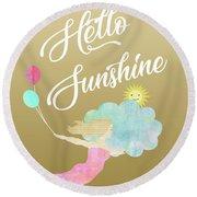 Hello Sunshine Round Beach Towel