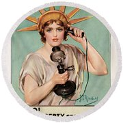 Hello This Is Liberty Speaking 1918 Round Beach Towel