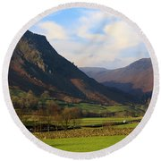 Helm Crag And Wythburn Fells Above Grasmere In The Lake District Round Beach Towel