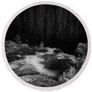 Hepokongas Waterfall Bw Round Beach Towel