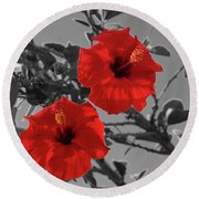 Hibiscus Selective Color Round Beach Towel
