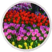 Hidden Garden Of Beautiful Tulips Round Beach Towel
