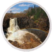 High Falls Rainbow Round Beach Towel by James Peterson