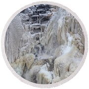 High Falls, Smaller Waterfall Round Beach Towel