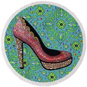 High Heel Party Round Beach Towel