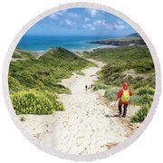 Hiking To Sandfly Bay New Zealand Round Beach Towel