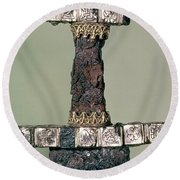 Hilt Of A Viking Sword Found At Hedeby, Denmark, 9th Century Round Beach Towel