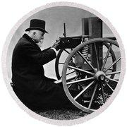 Hiram Maxim Firing His Maxim Machine Gun - 1884 Round Beach Towel