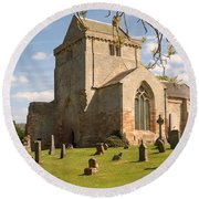 historic Crichton Church and graveyard in Scotland Round Beach Towel