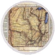 Historical Map Hand Painted Arkansaws Territory Round Beach Towel