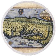 Historical Map Hand Painted Italy Vintage Round Beach Towel