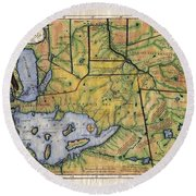 Historical Map Hand Painted Lake Superior Norhern Minnesota Boundary Waters Captain Carver Round Beach Towel