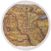 Historical Map Hand Painted Lake Superior North Dakota Minnesota Round Beach Towel