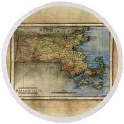 Historical Map Hand Painted Massachussets Round Beach Towel