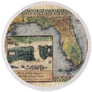 Historical Map Hand Painted St. Augustine Round Beach Towel