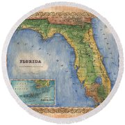 Historical Map Hand Painted Vintage Florida Colton Round Beach Towel