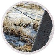 Hoar Frost On A Fence Along Turnagain Arm On The Seward Highway Alaska Round Beach Towel