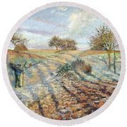 Hoarfrost At Ennery, 1873 Round Beach Towel