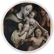 Holy Family With Elisabeth And John The Baptist  Round Beach Towel