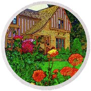 Home And Garden Round Beach Towel