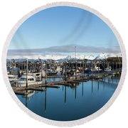 Homer Alaska Fishing Port Round Beach Towel