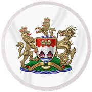 Hong Kong - 1959-1997 Coat Of Arms Over White Leather  Round Beach Towel