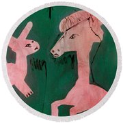 Horse And A Rabbit Round Beach Towel