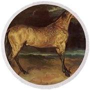 Horse In The Storm 1821 Round Beach Towel