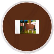 Horse On A Ranch Round Beach Towel