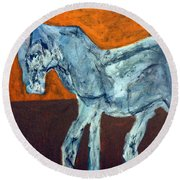 Horse On Orange Round Beach Towel