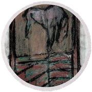 Horse Stables Round Beach Towel