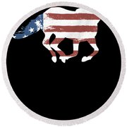 Horse Usa Patriotic Horse Silhouette Equestrian Riders Gift Light Round Beach Towel