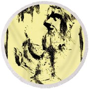 Horsemen On Yellow Round Beach Towel