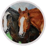 Horses In Oil Paint Round Beach Towel