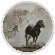 Horses In The Mist Round Beach Towel