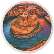 Horseshoe Bend Sunset Round Beach Towel