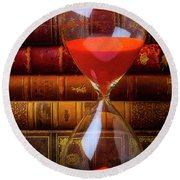 Hourglass And Old Books Round Beach Towel