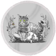House Cat Round Beach Towel