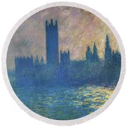 Houses Of Parliament, Sunlight Effect - Digital Remastered Edition Round Beach Towel
