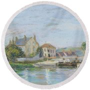 Houses On The Bank Of Ecluse At The Gazonne Round Beach Towel