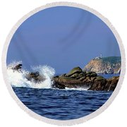 Huatulco Lighthouse Round Beach Towel