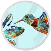 Hummingbird Blue - Sharon Cummings Round Beach Towel