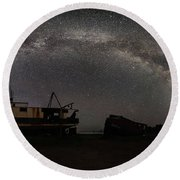 Hurkett Shipwrecks On A Late June Night Milky Way Arch Pano Round Beach Towel