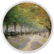 Hyde Park, London, 1890 Round Beach Towel
