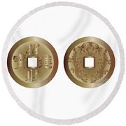 I Ching Coins Round Beach Towel