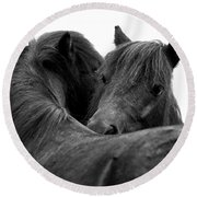 I Just Need A Hug. The Black Pony Bw Transparent Round Beach Towel