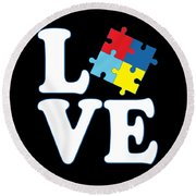I Love Autism Round Beach Towel