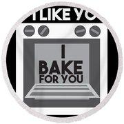 I Love Baking Bake Funny Baker Gift Round Beach Towel